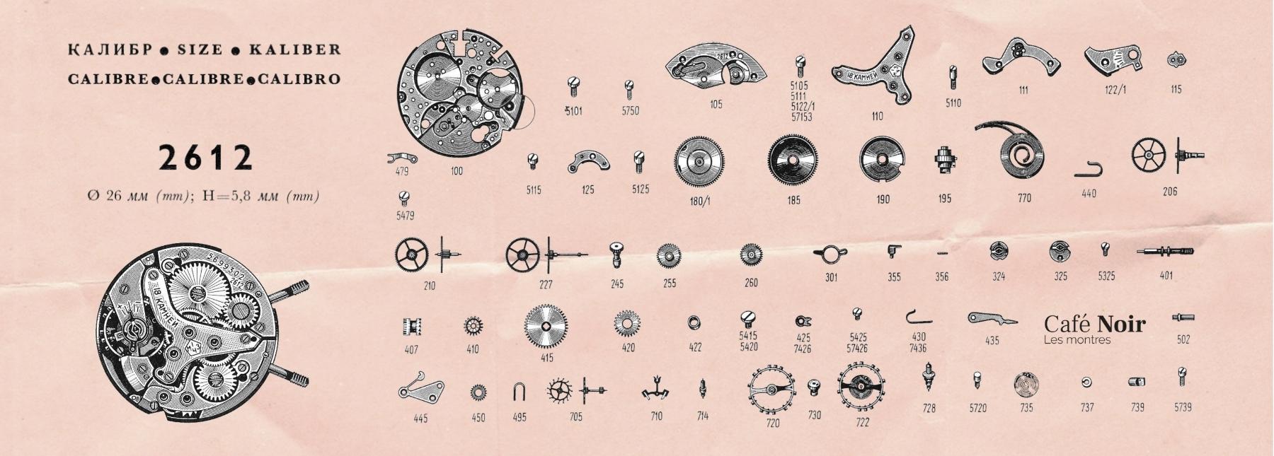 Mécanisme d'une Poljot Alarme, montre soviétique mécanique vintage histoire