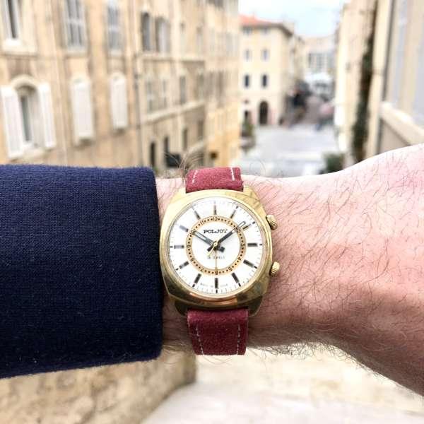 montre dorée soviétique homme