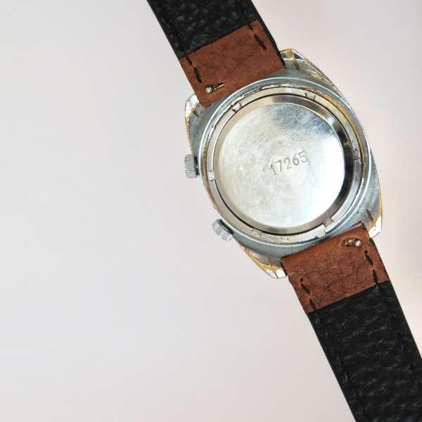 Montre ancienne mécanique bleu bracelet cuir interchangeable
