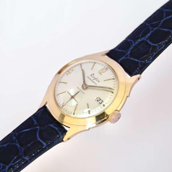 Montre femme or plaquée bracelet bleu date