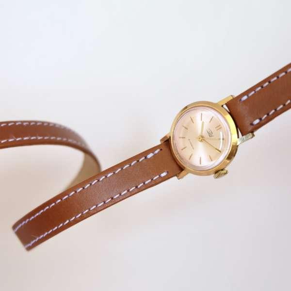 bracelet style hermès double tour marron camel